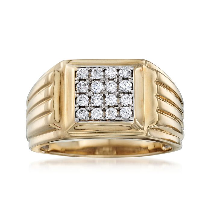 Men's .50 ct. t.w. Diamond Square-Top Ring in 14kt Two-Tone Gold, , default