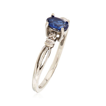 C. 1990 Vintage .55 Carat Sapphire Ring with Diamond Accents in 10kt White Gold. Size 7, , default