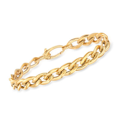 Italian 14kt Yellow Gold Marquise Link Bracelet