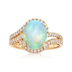 Opal and .42 ct. t.w. Diamond Ring in 14kt Yellow Gold, , default