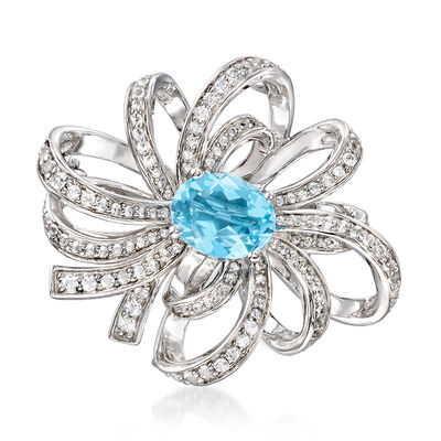 3.10 ct. t.w. Sky Blue and White Topaz Pin in Sterling Silver, , default