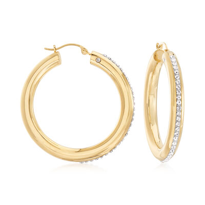 Andiamo Rhinestone Hoop Earrings in 14kt Yellow Gold Over Resin, , default