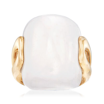 23x17mm White Agate Ring in 14kt Yellow Gold