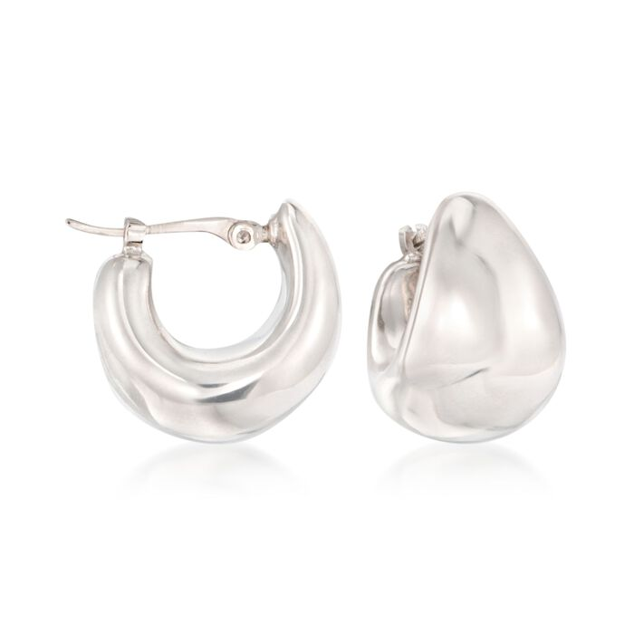 14kt White Gold Puffed Dome Hoop Earrings. 1/2""