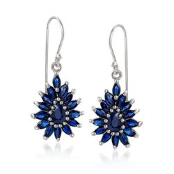 3.00 ct. t.w. Sapphire Cluster Drop Earrings in Sterling Silver, , default