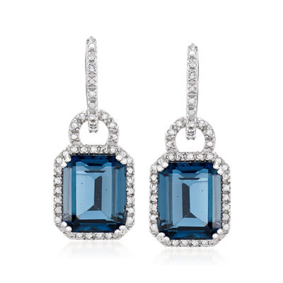 7.00 ct. t.w. London Blue Topaz Hoop Drop Earrings with Diamonds in Sterling Silver