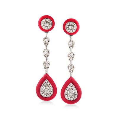 .25 ct. t.w. Diamond Drop Earrings with Red Enamel in 18kt White Gold