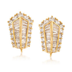 C. 1990 Vintage 4.00 ct. t.w. Diamond Earrings in 18kt Yellow Gold, , default