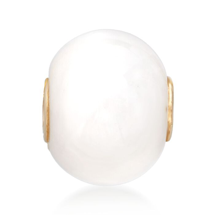 White Kunlun Jade Bead Pendant with 14kt Yellow Gold