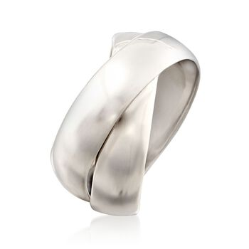 Italian Sterling Silver Two-Band Rolling Ring. Size 5