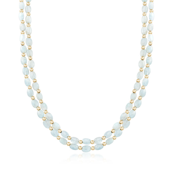 70.00 ct. t.w. Multi-Strand Aquamarine Bead Necklace in 14kt Yellow Gold, , default
