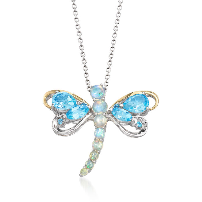 Opal and 2.38 ct. t.w. Blue and White Topaz Dragonfly Pin Pendant Necklace in Two-Tone Sterling Silver, , default