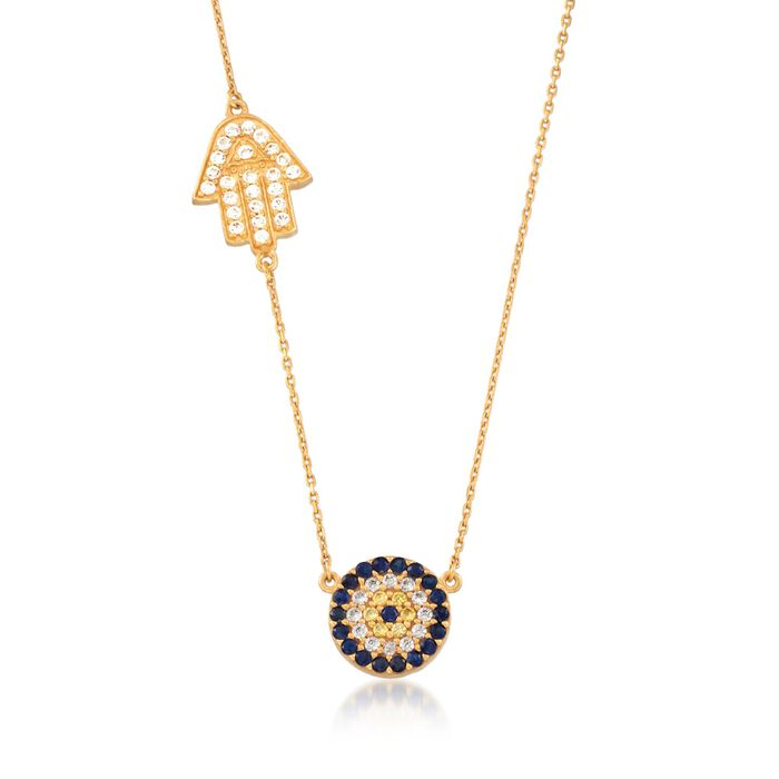 .80 ct. t.w. White Zircon and .40 ct. t.w. Multicolored Sapphire Evil Eye and Hamsa Hand Necklace in 18kt Gold Over Sterling
