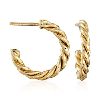 """Roberto Coin 18kt Yellow Gold Medium Twist Half-Hoop Earrings. 5/8"""", , default"""
