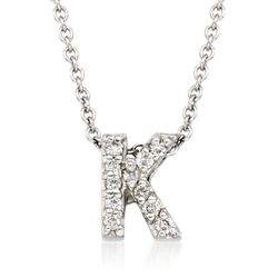 "Roberto Coin ""Tiny Treasures"" Diamond Accent Initial ""K"" Necklace in 18kt White Gold. 16"", , default"