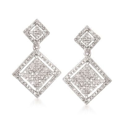 .50 ct. t.w. Pave Diamond Square Drop Earrings in Sterling Silver, , default