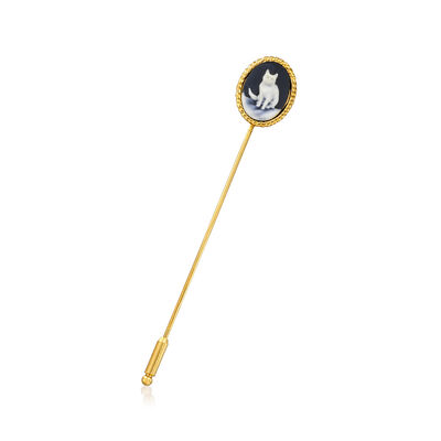 Italian Ceramic Cat Cameo Stick Pin in 18kt Gold Over Sterling