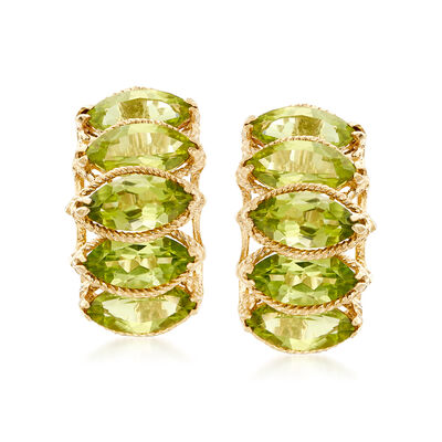 5.50 ct. t.w. Marquise Peridot Earrings in 14kt Yellow Gold, , default
