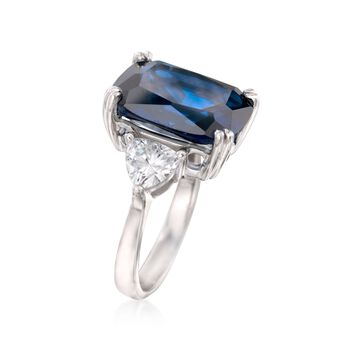 Cushion-Cut Simulated Sapphire and 1.75 ct. t.w. CZ Ring in Sterling Silver , , default