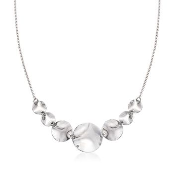 Sterling Silver Wavy Disc Necklace, , default