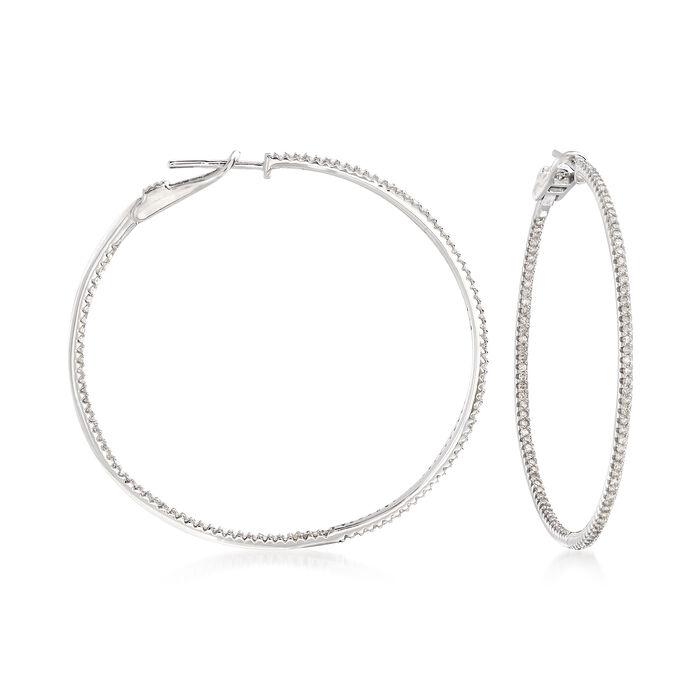 """1.00 ct. t.w. Diamond Inside-Outside Hoop Earrings in 14kt White Gold. 1 3/4"""", , default"""