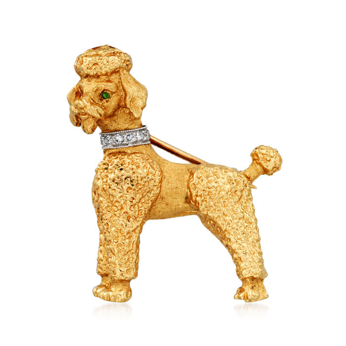 C. 1970 Vintage .10 ct. t.w. Diamond Collar Poodle Pin with Emerald Accents in 14kt Yellow Gold