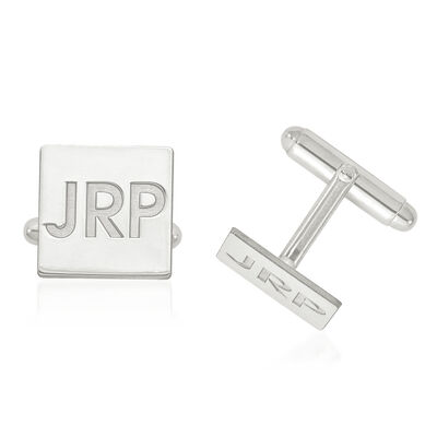 Sterling Silver Recessed Letters Square 3-Initial Cuff Links, , default