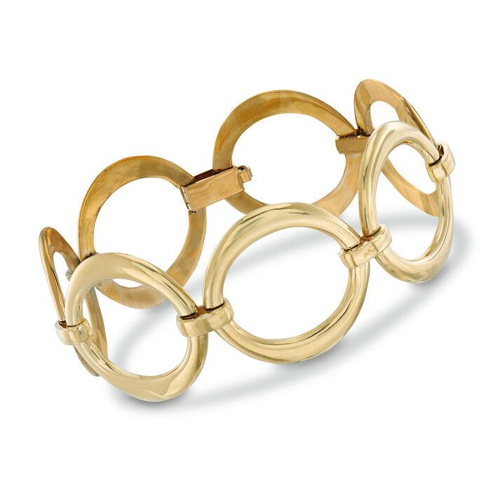 """C. 1970 Vintage Wide Oval-Link Bracelet in 18kt Yellow Gold. 7"""", , default"""