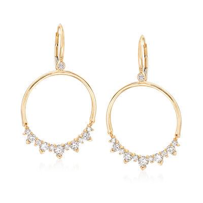 1.45 ct. t.w. Diamond Open Circle Drop Earrings in 14kt Yellow Gold, , default