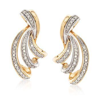 .26 ct. t.w. Diamond Twisted Ribbon Earrings in 14kt Two-Tone Gold. , , default