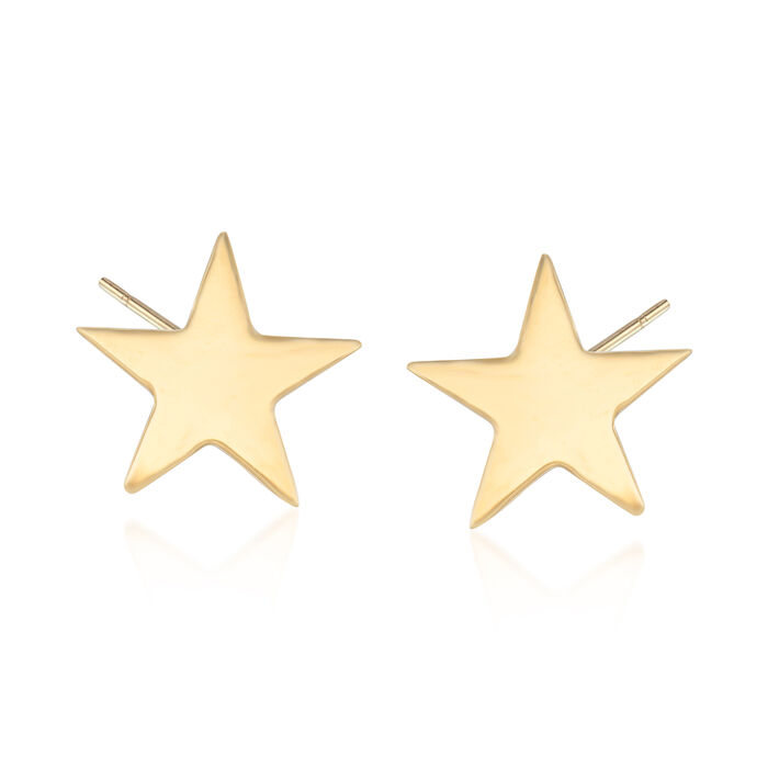 18kt Yellow Gold Star Stud Earrings