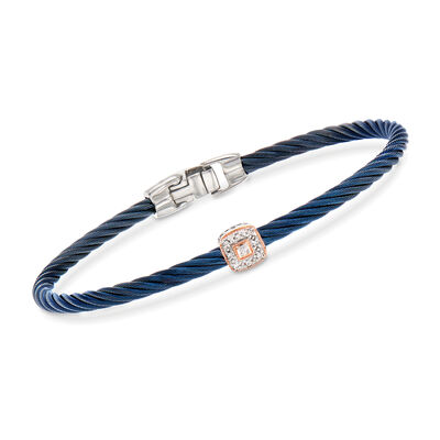 "ALOR ""Shades of Alor"" Blue Stainless Steel Cable Bracelet with Diamond Accents and 18kt Two-Tone Gold, , default"