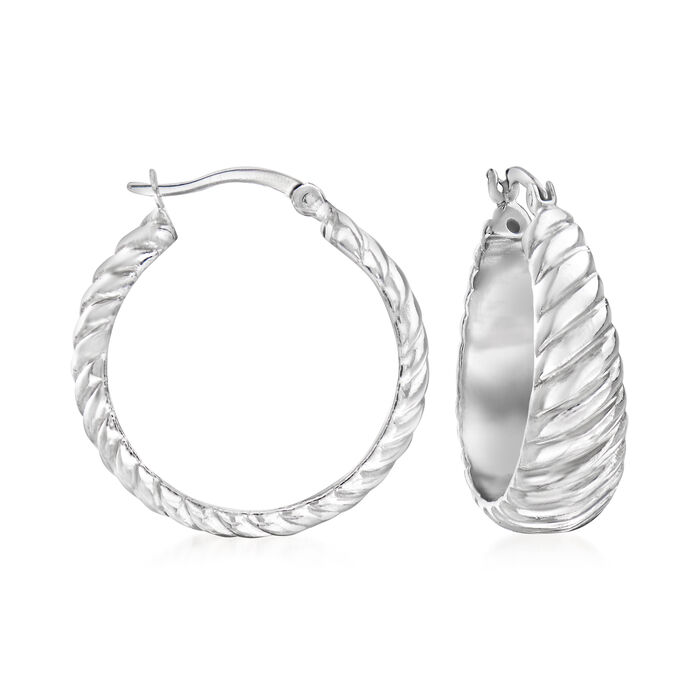 Sterling Silver Textured and Polished Shrimp Hoop Earrings