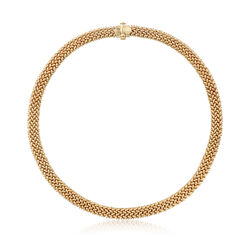 Italian 14kt Yellow Gold Riso-Link Collar Necklace, , default