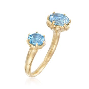 2.90 ct. t.w. Sky and Swiss Blue Topaz Cuff Ring in 18kt Gold Over Sterling, , default