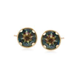 2.20 ct. t.w. Mystic Green Quartz Stud Earrings in 14kt Yellow Gold, , default