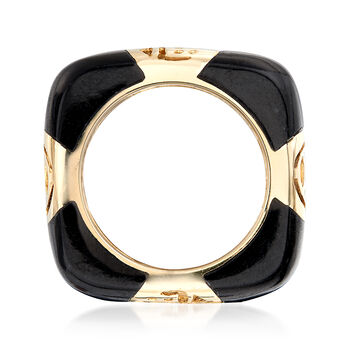 11x5mm Black Onyx and Cutout Symbol Ring in 14kt Yellow Gold, , default
