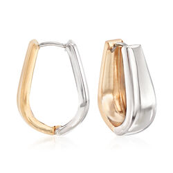 14kt Two-Tone Gold Reversible Oval Huggie Hoop Earrings, , default