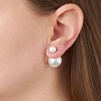 8-16mm Shell Pearl Front-Back Earrings in Sterling Silver, , default