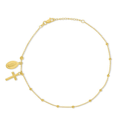 14kt Yellow Gold Virgin Mary and Cross Anklet