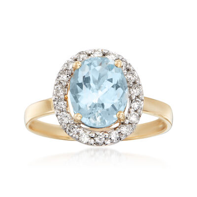 1.70 Carat Aquamarine and .28 ct. t.w. Diamond Halo Ring in 14kt Yellow Gold, , default