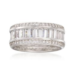 3.50 ct. t.w. Baguette and Round CZ Eternity Band in Sterling Silver. Size 7, , default