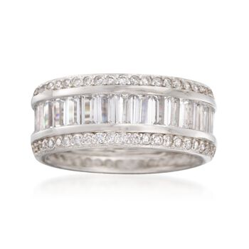 3.50 ct. t.w. Baguette and Round CZ Eternity Band in Sterling Silver, , default