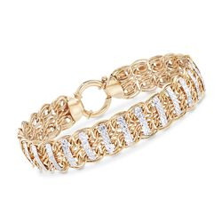 14kt Yellow Gold Oval-Link and Diamond-Cut Bar Bracelet, , default