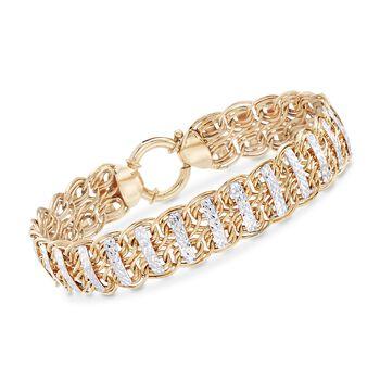 14kt Yellow Gold Oval-Link and Diamond-Cut Bar Bracelet, , default