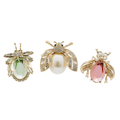 Joanna Buchanan Set of 3 Pastel Jeweled Insect Clips, , default