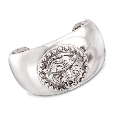 Italian Sterling Silver Tiger Cuff Bracelet, , default
