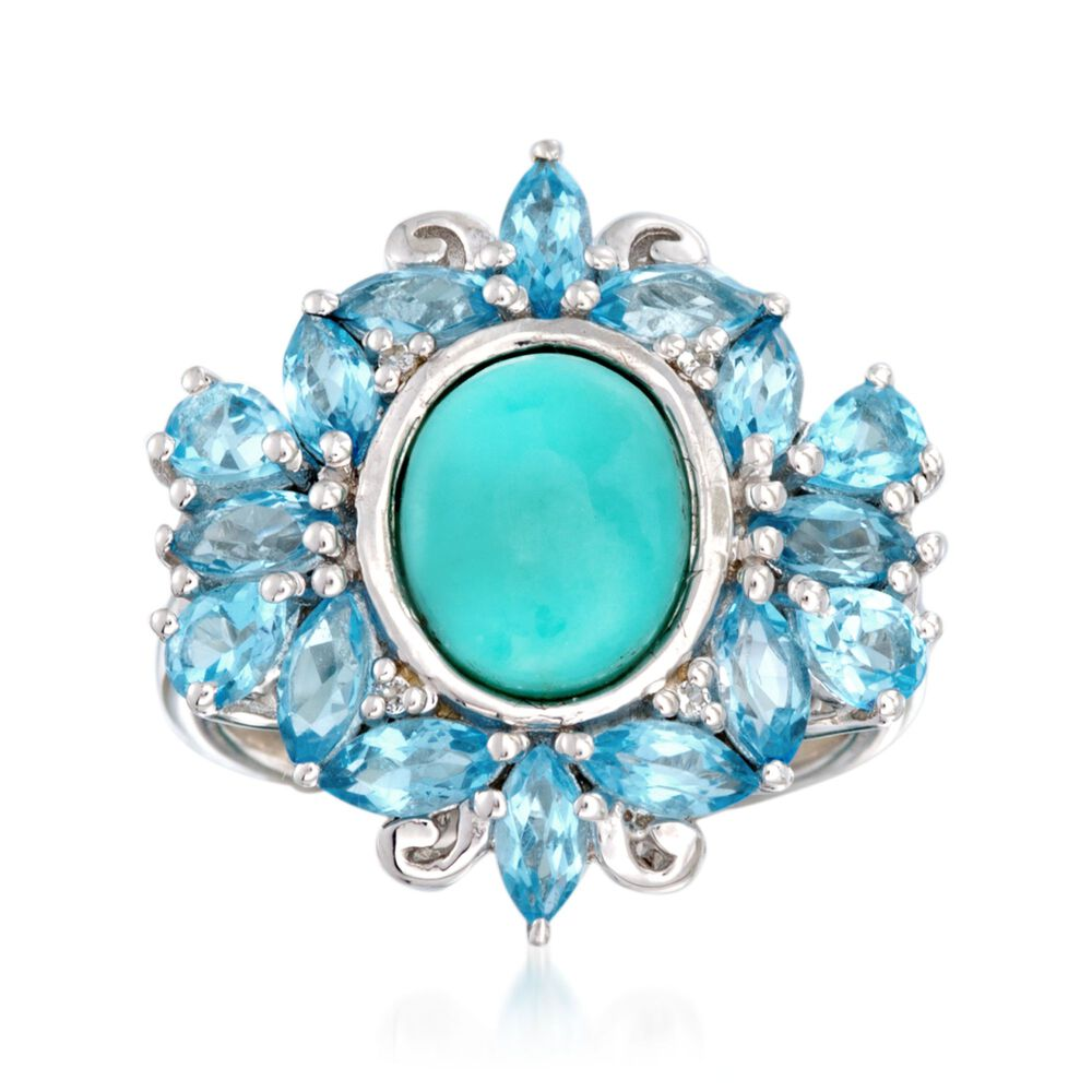 3d62e3f2c Turquoise Ring with 3.20 ct. t.w. Blue Topaz and White Topaz Accents in Sterling  Silver