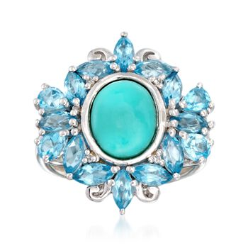 Turquoise Ring With 3.20 ct. t.w. Blue Topaz and White Topaz Accents in Sterling Silver, , default
