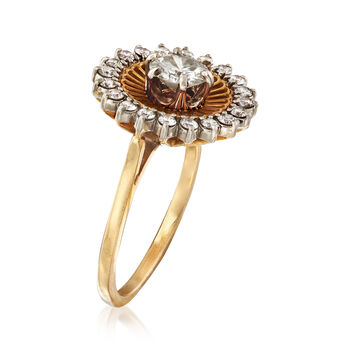 C. 1970 Vintage 1.00 ct. t.w. Diamond Halo Ring in 18kt Yellow Gold. Size 7